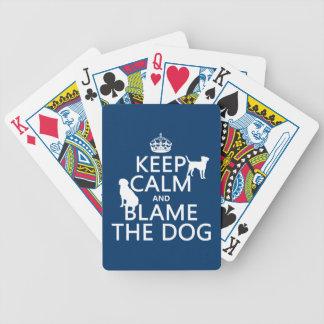 Behalten Sie Ruhe und tadeln Sie den Hund - alle Bicycle Spielkarten