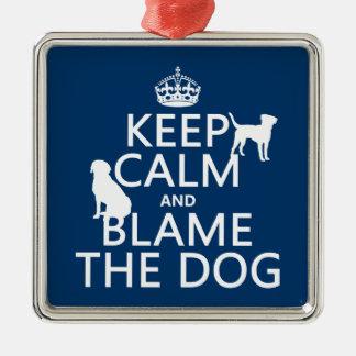 Behalten Sie Ruhe und tadeln Sie den Hund - alle Silbernes Ornament