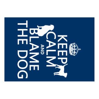 Behalten Sie Ruhe und tadeln Sie den Hund - alle Visitenkarten Vorlage
