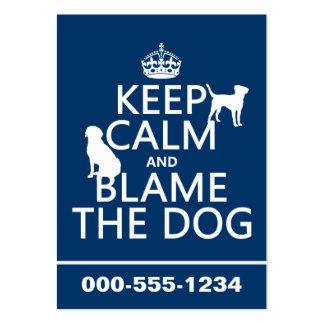 Behalten Sie Ruhe und tadeln Sie den Hund - alle Visitenkarten