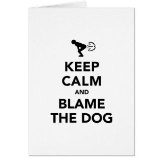 Behalten Sie Ruhe und tadeln Sie den Hund Karte