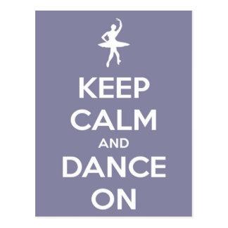 Behalten Sie Ruhe und tanzen Sie auf Postkarte