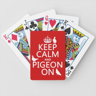 Behalten Sie Ruhe und Taube an - alle Farben Bicycle Spielkarten