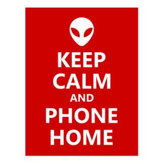 Behalten Sie Ruhe und Telefon-Zuhause Postkarte