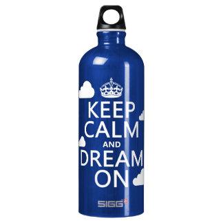 Behalten Sie Ruhe und Traum an (Wolken) - alle Aluminiumwasserflasche