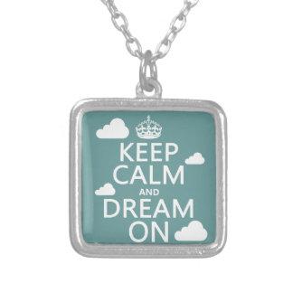 Behalten Sie Ruhe und Traum an (Wolken) - alle Versilberte Kette