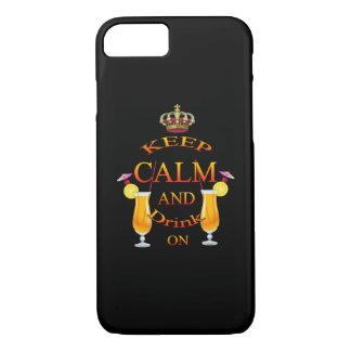 Behalten Sie Ruhe und trinken Sie auf Gold iPhone 8/7 Hülle