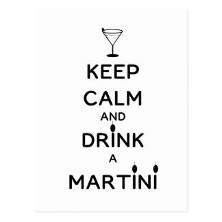 Behalten Sie Ruhe und trinken Sie einen Martini Postkarten