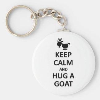 Behalten Sie Ruhe und umarmen Sie eine Ziege Standard Runder Schlüsselanhänger