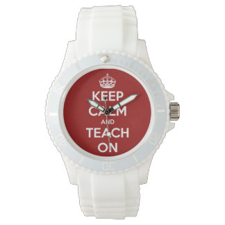 Behalten Sie Ruhe und unterrichten Sie auf Rotem Armbanduhr