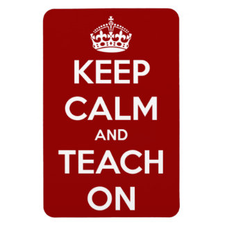 Behalten Sie Ruhe und unterrichten Sie auf rotem Magnet