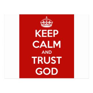 Behalten Sie Ruhe-und Vertrauens-Gott Postkarte