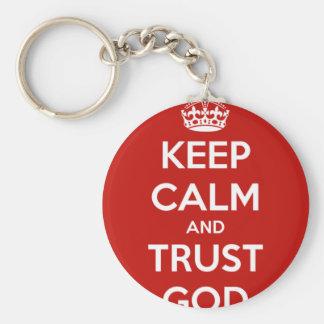 Behalten Sie Ruhe-und Vertrauens-Gott Schlüsselanhänger