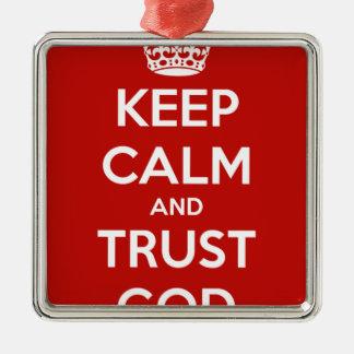 Behalten Sie Ruhe-und Vertrauens-Gott Silbernes Ornament