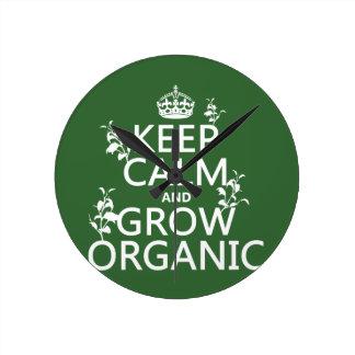Behalten Sie Ruhe und wachsen Sie Bio (alle Runde Wanduhr