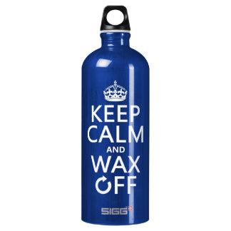 Behalten Sie Ruhe und wachsen Sie weg von ein Aluminiumwasserflasche