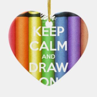 Behalten Sie Ruhe und zeichnen Sie auf Farben Keramik Ornament
