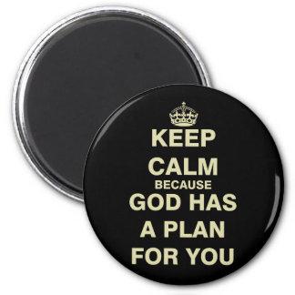 Behalten Sie Ruhe, weil Gott einen Plan für Sie Runder Magnet 5,7 Cm