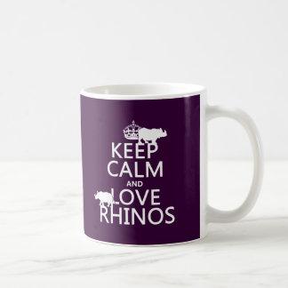 Behalten Sie Ruheund LiebeRhinos (irgendeine Kaffeetasse