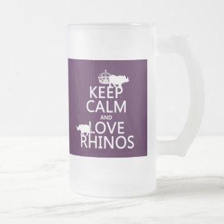 Behalten Sie Ruheund LiebeRhinos (irgendeine Mattglas Bierglas