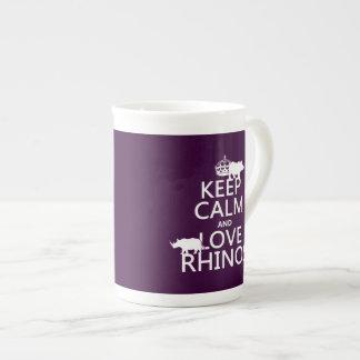 Behalten Sie Ruheund LiebeRhinos (irgendeine Porzellantasse