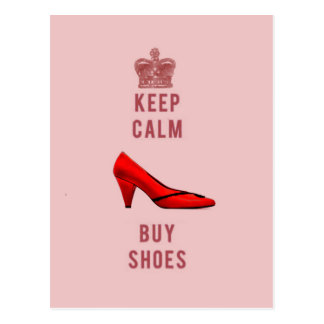 Behalten Sie ruhig u. kaufen Sie Schuhe Postkarte