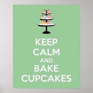 Behalten Sie ruhig und backen Sie Kuchen-Plakat-Dr Poster