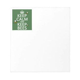 Behalten Sie ruhig und behalten Sie Bienen - alle Notizblock