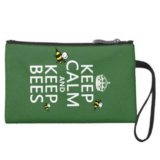 Behalten Sie ruhig und behalten Sie Bienen - alle Velour Wristlet Geldbörse