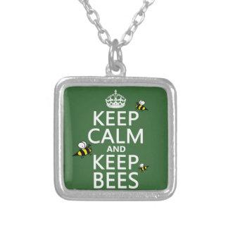 Behalten Sie ruhig und behalten Sie Bienen - alle Versilberte Kette