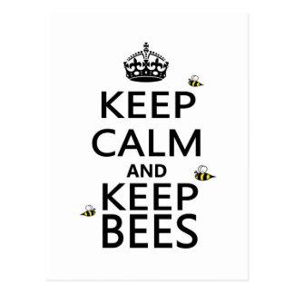 Behalten Sie ruhig und behalten Sie Bienen Postkarte