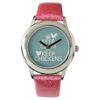 Behalten Sie ruhig und behalten Sie Hühner Armbanduhr