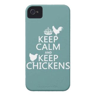 Behalten Sie ruhig und behalten Sie Hühner Case-Mate iPhone 4 Hülle