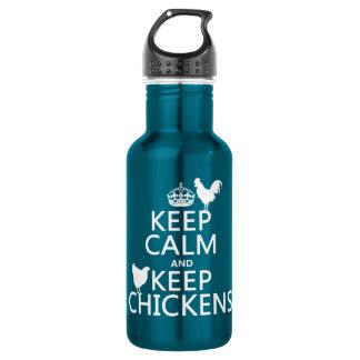 Behalten Sie ruhig und behalten Sie Hühner Edelstahlflasche