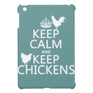 Behalten Sie ruhig und behalten Sie Hühner iPad Mini Hülle