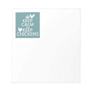 Behalten Sie ruhig und behalten Sie Hühner Notizblock