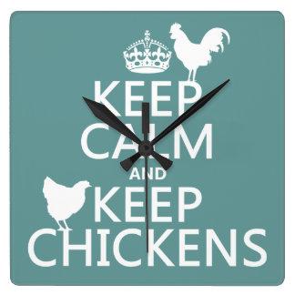 Behalten Sie ruhig und behalten Sie Hühner Quadratische Wanduhr