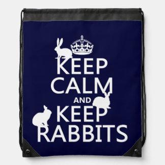 Behalten Sie ruhig und behalten Sie Kaninchen - Turnbeutel
