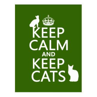 Behalten Sie ruhig und behalten Sie Katzen Postkarten