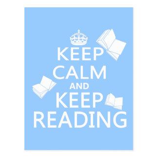 Behalten Sie ruhig und behalten Sie Lesung Postkarte