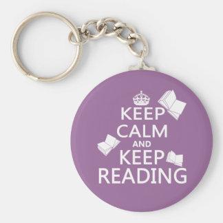 Behalten Sie ruhig und behalten Sie Lesung Schlüsselanhänger