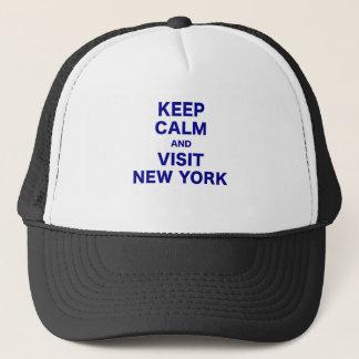 Behalten Sie ruhig und Besuch New York Truckerkappe