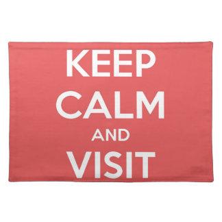 Behalten Sie ruhig und Besuch Paris Stofftischset