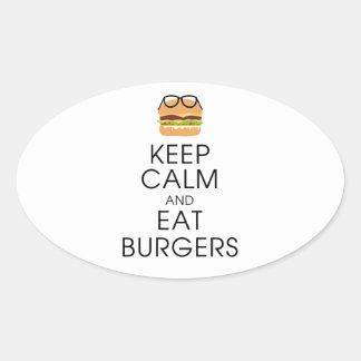 Behalten Sie ruhig und essen Sie Burger Ovaler Aufkleber