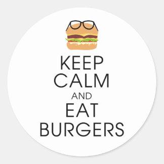 Behalten Sie ruhig und essen Sie Burger Runder Aufkleber