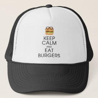 Behalten Sie ruhig und essen Sie Burger Truckerkappe