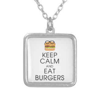 Behalten Sie ruhig und essen Sie Burger Versilberte Kette
