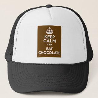 Behalten Sie ruhig und essen Sie Schokolade Truckerkappe
