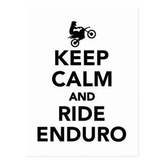 Behalten Sie ruhig und Fahrt Enduro Postkarte