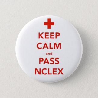 Behalten Sie ruhig und führen Sie NCLEX Knopf Runder Button 5,7 Cm